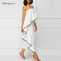 Women White Red Jumpsuits Series Ruffles Summer Strapless Elegant Backless Evening Party Rompers Overalls combinaison femme