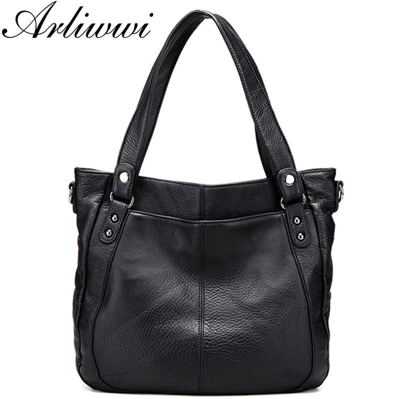 Bagaj ve Çantalar'ten Omuz Çantaları'de Arliwwi Marka Tasarımcısı yüksek kalite hakiki Deri Yumuşak kadın büyük el çantası Çanta Moda Bayan Büyük Omuz askılı çanta Yeni'da  Grup 1