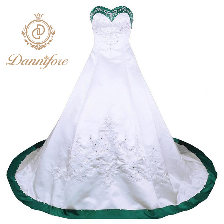 Dannifore White Ball Gown Wedding Dress Green Purple Black