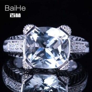 c4e1b56a310e BAIHE sólido 14 K oro blanco (AU585) 7CT certificado cojín impecable 100%  genuino Topacio blanco boda mujeres moda fina anillo Jewely