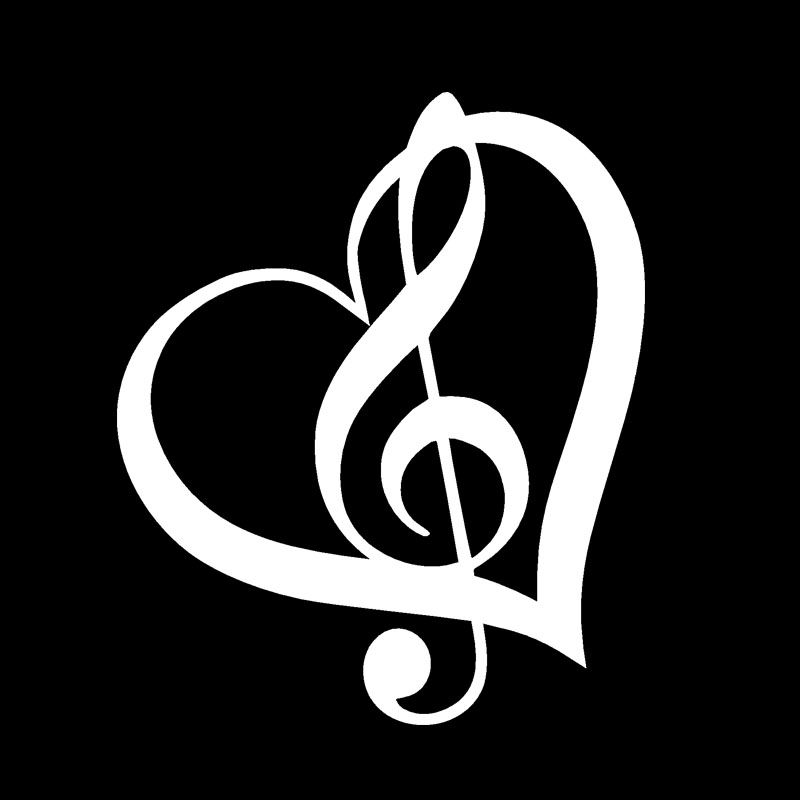 TREBLE CLEF HEART Vinyl Decal Sticker Car Window Wall Bumper Music Symbol Guitar