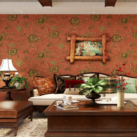 עיצוב פרחים יפים בסגנון פסטורלי רטרו כפר בדים לא ארוג טפט רקע טלוויזיה בסלון חדר שינה קיר מדבקת בית תפאורה