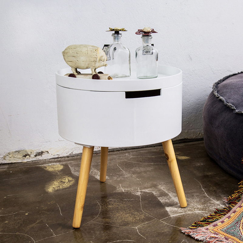 Storage End Tables For Living Room: Small Round Table Storage House Sofa Side Table Simple