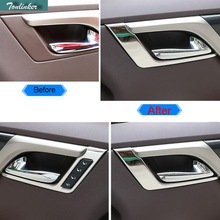 Tonlinker 4 PCS Car Styling DIY Stainless steel door handle Light Cover Case Stickers for Lexus RX200t 450h 2016 Accessories