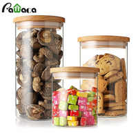 Clear Glass Food Storage Containers Grain Dried Fruit Sealed Box Snack Sugar Jar Pot with Double Layer Seal Ring Kitchen Storage