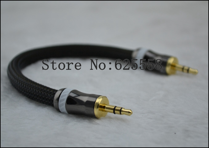 High Performance Silver Plated 3.5MM male plug to 3.5MM male plug headphone cable 15cm
