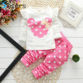 New fashion baby girls clothing set minnie cotton children cute clothes bow tops t shirt + leggings baby kids 2 pcs suit retail