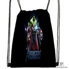 Custom Spiderman Avengers @01- Drawstring Backpack Bag Cute Daypack Kids Satchel (Black Back) 31x40cm#180611-01-27
