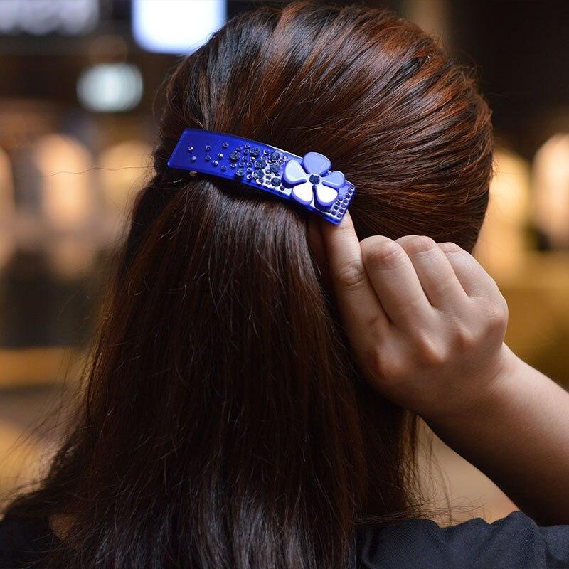 Women headwear 2017 flower hair clip blue elegant hair barrette cute rhinestone hair accessories for women