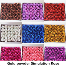 30pcs 7cm Gold powder flower Rose Artificial Flower Wedding Home Furnishings DIY Wreath Sheets Handicrafts Simulation rose