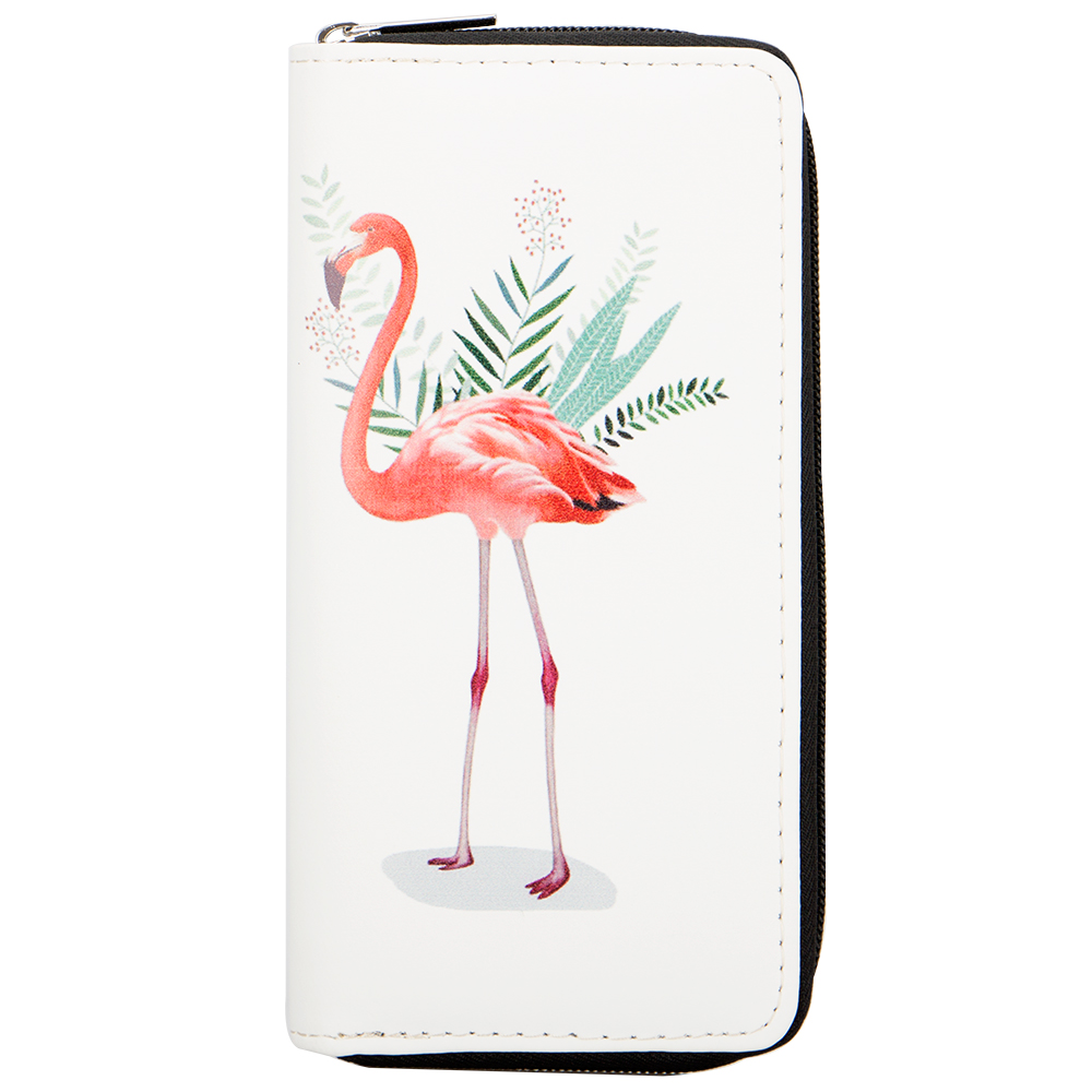 Sansarya New Fashion 2018 Lovely Cute Printed Flamingo Woman Wallet Zipper Sweet Girls Female Purse Card Holder PU Money Bag