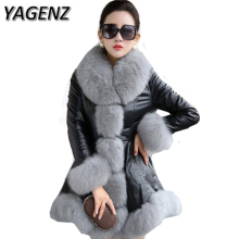 YAGENZ Large size 6XL Winter Women Jacket Faux fox fur Big fur collar Thick Warm Female Jacket  Slim PU leather Winter Overcoat