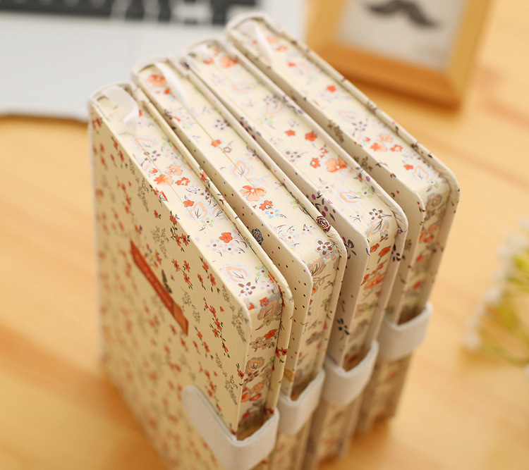 Two pieces Hardcover Vintage Notebook A5 Personal Diary Book With Magnetic Button,Beautiful Flowers Cute Notebooks And Journals 365 day thick hardcover personal diary