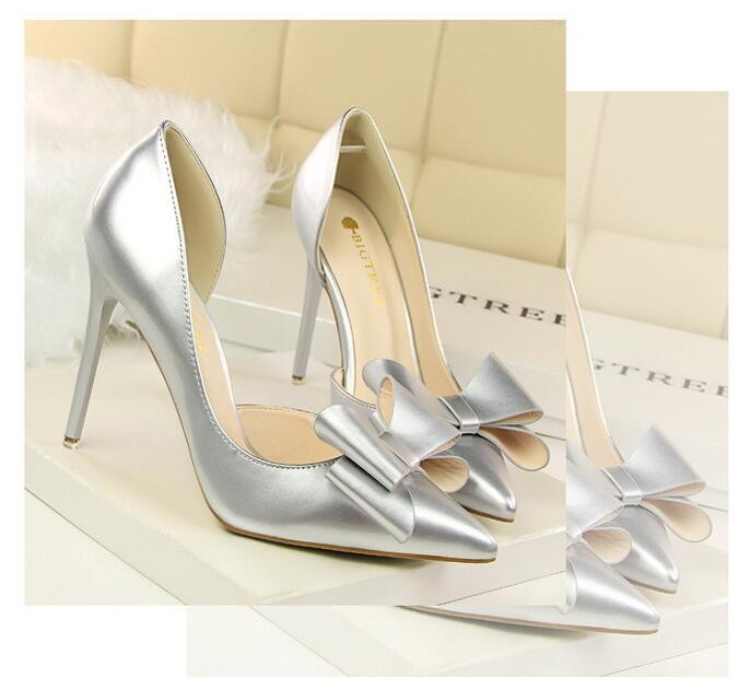 {D&H}Brand Women Shoes High Heels Women's Pumps Bow Two Piece Thin Heel Wedding Shoes Valentine Shoes White zapatos mujer 11