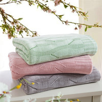 Plaid Knitted Summer Blankets throw cover bamboo fiber Blanket Air Conditioning Blanket Sofa Blanket Silk Feeling Antibacterial