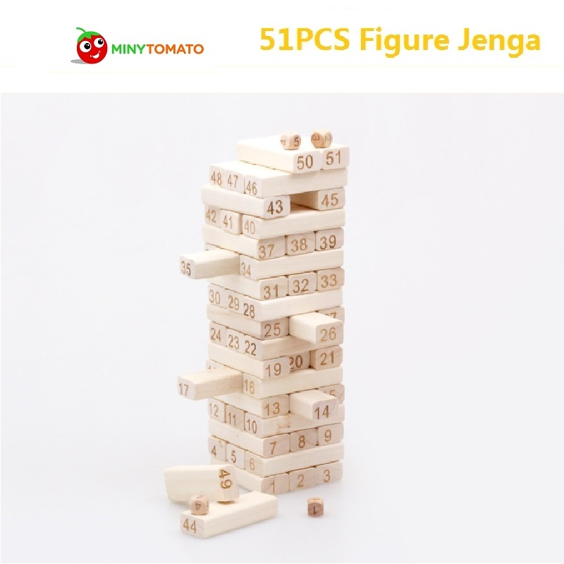 51pcs/set Wooden Domino Stacker Extract Educational Jenga Tumbling Tower Stacking Blocks Game Inddor Toys for Bay Education wooden building blocks toy domino stacker cartoon animals diy disassembling model jenga education toy for baby kids children