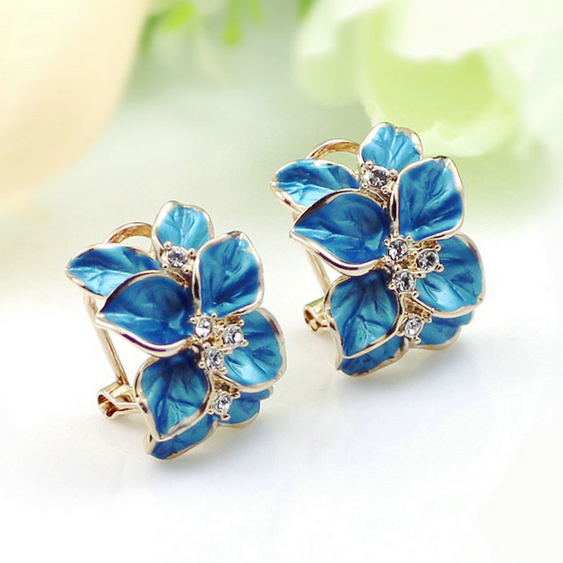 MOONROCY Free Shipping Fashion Jewelry Wholesale Zirconia Rose Gold Color Austrian Crystal Blue Earrings for women Wedding Gift