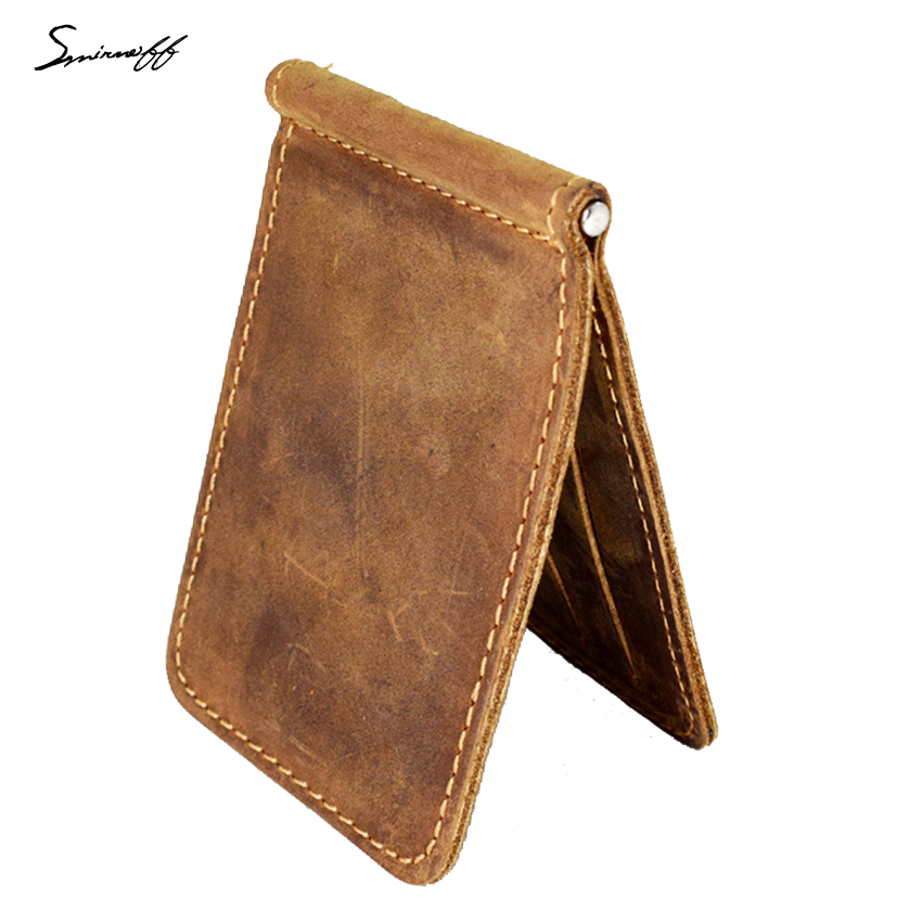 SMIRNOFF Men Purse Money <font><b>Clip</b></font> with Metal Clamp <font><b>Genuine</b></font> Leather Wallet 2 Folded Open Clamp for Money Rouble Note Wallet Male