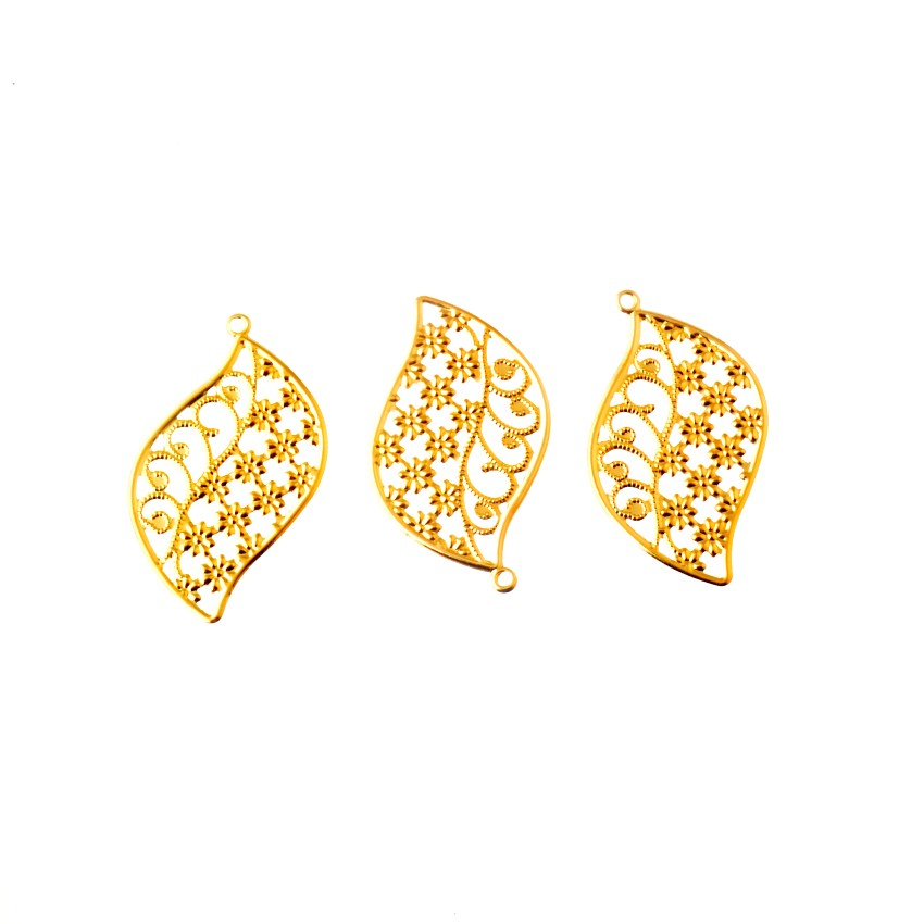 Free Shipping 10Pcs Gold Flower Filigree Wraps Connectors Metal Crafts Gift Decoration DIY 49x27mm