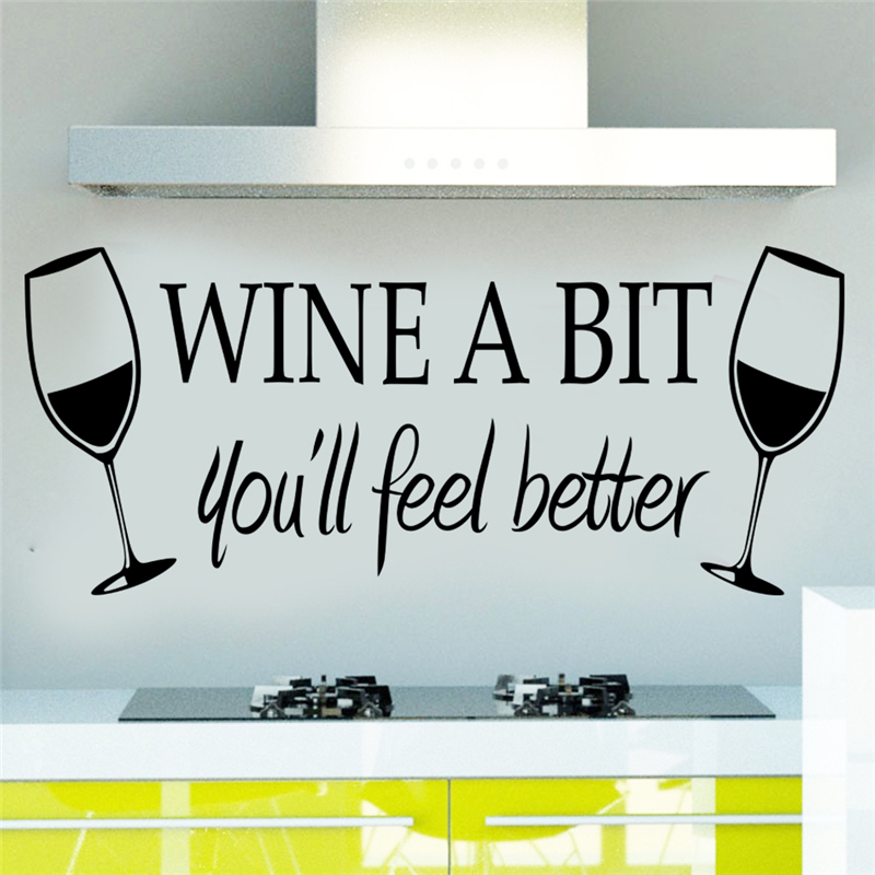Wine A Bit youll Feel Better Quotes Wall Decal Dining Room Kitchen Sticker Diy Mural Art