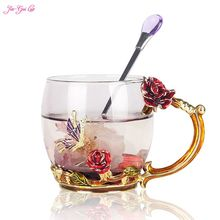 Jia-Gui Luo Luxury upgrade emaille glas rose bowl hitzebeständige kristall glas kaffeetasse paare kreative geschenk blume tee cu