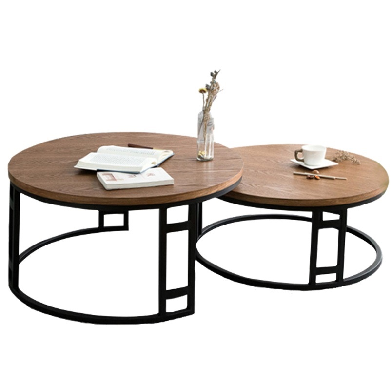 Us 500 0 Nest Coffee Table With Metal Frame In Black 80cm 70cm Round Plywood Top Tables From Furniture On Aliexpress