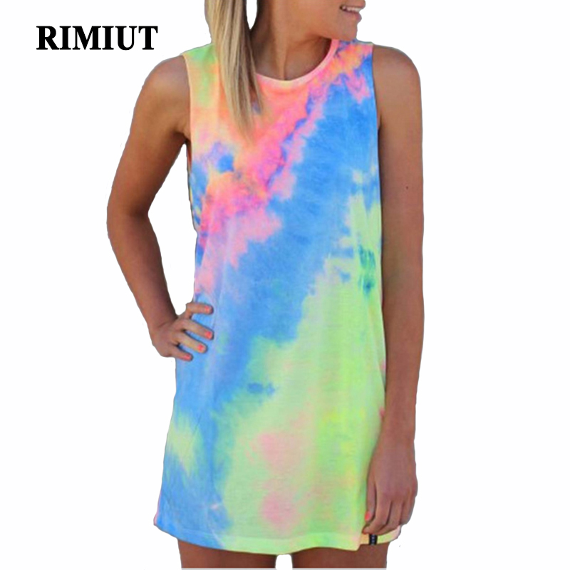 2017 Fashion Rainbow Printing Sleeveless Women Summer Beach T-Shirt Tops Casual Girl Loose-Fitting Vestido femininos Tees Shirts