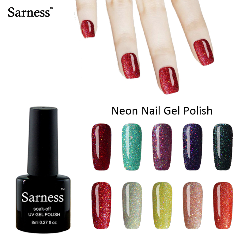 sarness Neon lucky Color Rainbow font b Nail b font Gel Polish Gorgeous Bling UV Gel