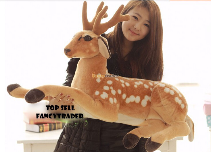 Fancytrader 2015 New High Quality Deer Toy 35''  90cm Emulational Giant Plush Stuffed Spotted Sika Deer, Free Shipping FT90234 fancytrader new style giant plush stuffed kids toys lovely rubber duck 39 100cm yellow rubber duck free shipping ft90122