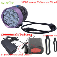 Walkfire 10000 Lumens 7 x XML T6 Led Bicycle Light Front Lamp Bike Rear Rechargeable Light Headlamp Bicycle Flashlight 10000mAh