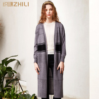 ZHILI Women's Long Sleeve Open Front Sweater Cardigan Coat With Slits