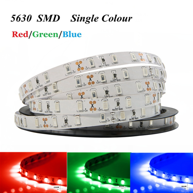 SMD 5630 LED strip not waterproof DC12V 60LED/m 5m/lot Warm white Blue Red Green LED Flexible Tape Rope Light Bright Than 5050 5m dc12v waterproof led strip 5050 smd 60led m flexible led light white warm white red green blue rgb tape ribbon