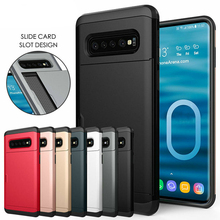For Samsung S10 Plus Armor Slide Card Case Galaxy Note 9 8 Slot Holder Cover S9 S8 Cases
