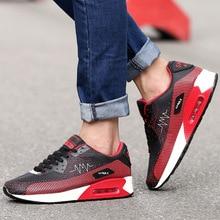 Nueva tendencia de los hombres respirables del deporte zapatos corrientes de los hombres zapatos de marca fresca trainer zapatillas negro/blanco athletic zapatos para caminar zapato