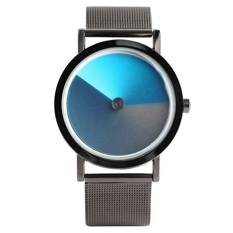 Fashion Men Watch Unique Gradient Contrast Color Face Novel Concept Male Geek Wristwatch Hot Boys Trendy Vortex Turntable Clock