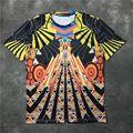 2017 verão nova Europa tide marca giv tops tees 3D palácio impressão digital homens/mulheres da moda algodão de manga Curta t-shirt