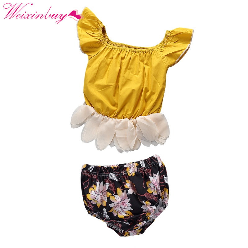 2 PCS Baby Clothes Set Baby Girl Clothes Newborn Print Petals Fashion Kids Clothes Set T-shirt + Printing Shorts Girl Clothes