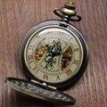 Стимпанк Механические Карманные Часы Скелет Цепи Римскими Цифрами Часы с 30 см Chiain P839C