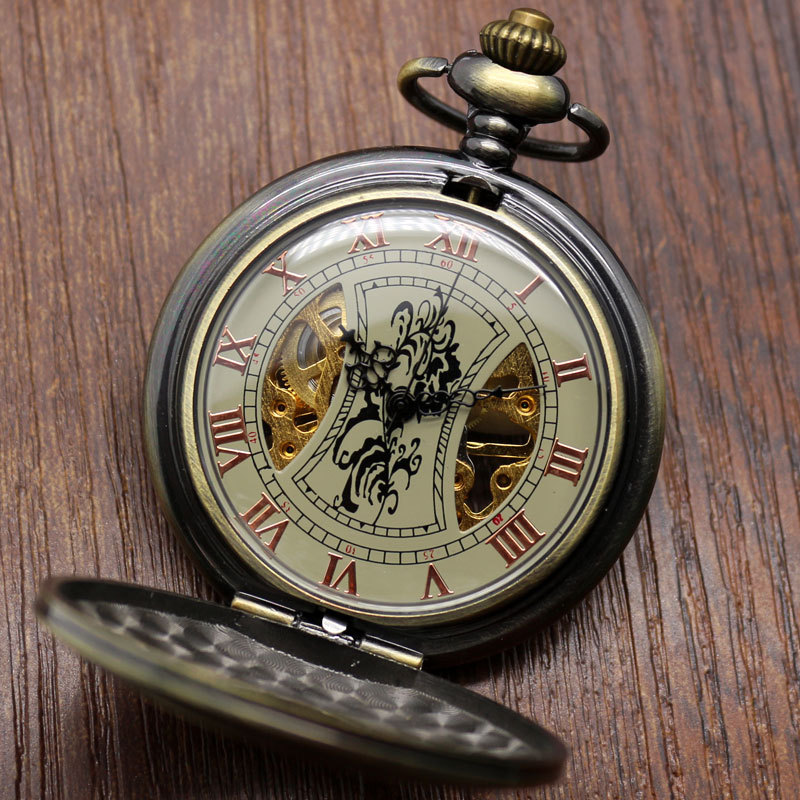 Steampunk Bronze Copper Mechanical Pocket Watch Skeleton Chain Roman Numbers Vintage Pendant Watches with 30cm Chain Gifts P839C steampunk antique silver mechanical skeleton pocket watch mens women watches vintage hollow pendant chain clock gifts retro