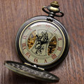 Steampunk Mechanical Pocket Watch Skeleton Chain Roman Numbers Watch with 30cm Chiain P839C