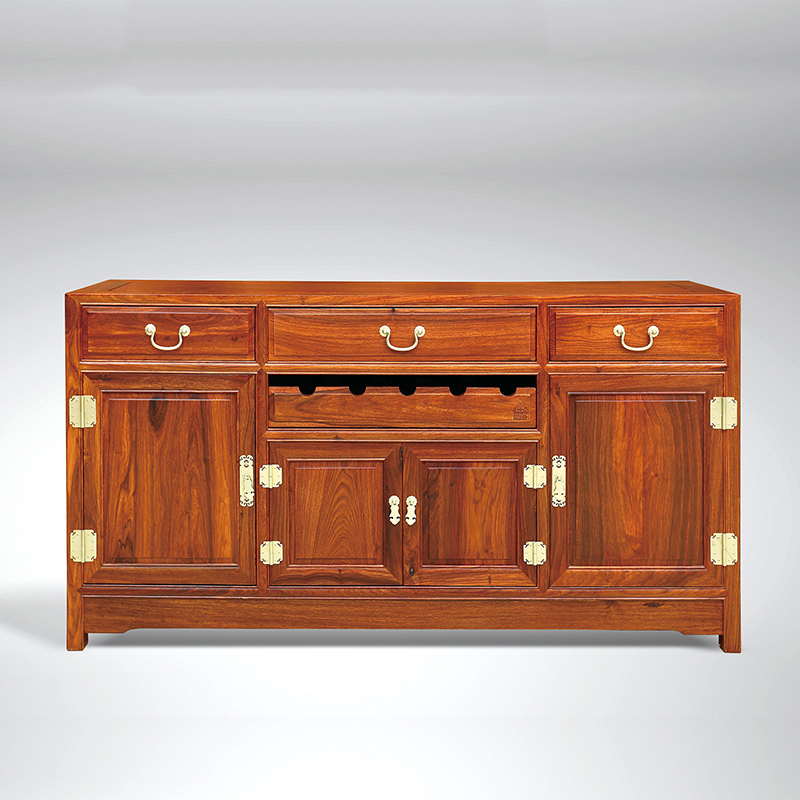 Antique Wooden Plain Four-Door Sideboard Hedgehog Rosewood Dining Room Furniture Classical Drawers GD067 156*80*40cm