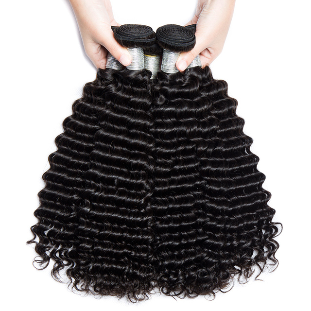 Alibele Peruvian Deep Wave Curly Hair Weave Bundles 100% Human Hair Weaving Natural Color Remy Human Hair Extensions 10-28inch