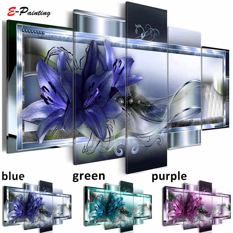 Modern Painting Canvas 5 Pieces Lily Flower Fashion Wall Art Diamond Lilies Home Decoration Living Room Home Decor
