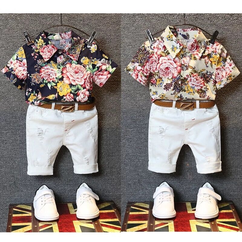 2Pcs Toddler Kids Baby Boy Clothes Sets Floral T-shirt Tops+White Middle Pants Fashion Summer Outfits Children Clothing 2 Colors 2pcs children outfit clothes kids baby girl off shoulder cotton ruffled sleeve tops striped t shirt blue denim jeans sunsuit set