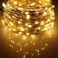 6 m/10 m/12 m/20 m 5 Modos 6AA Bateria Alimentado LEVOU Luzes Da Corda Ao Ar Livre Fio de Prata Estrelado Natal Luzes De Fadas à prova d' água