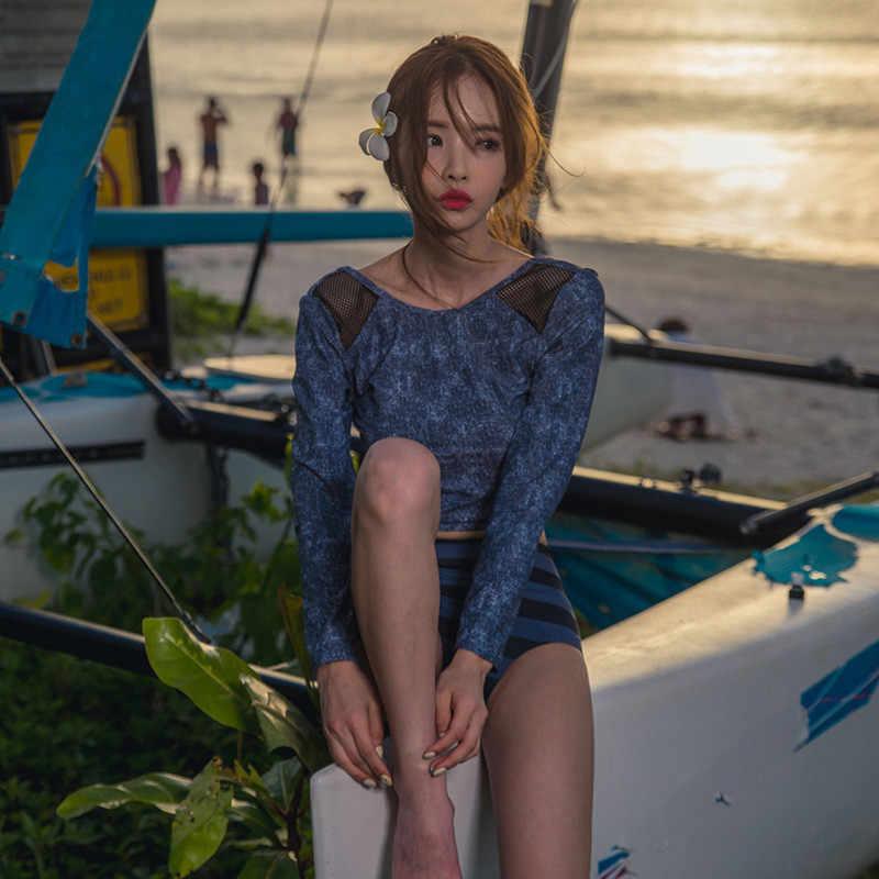 Musim panas Lengan Panjang Crop Top Swimsuit Wanita Sun-protection Rashguard Swimwear Tankini Set Perempuan Cetak Surfing Setelan Pakaian Renang