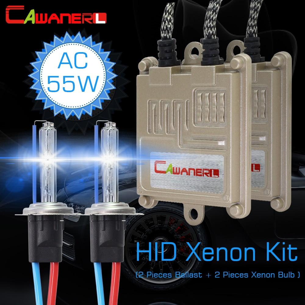 Cawanerl 55 W H1 H7 H8 H11 9005 HID Kit de lumière xénon AC ampoule de Ballast démarrage rapide voiture phare antibrouillard 3000 K 4300 K 6000 K 8000 K