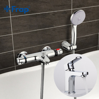 Frap Thermostatic Bathtub Faucet Shower With Bathroom Basin Tap Cold And Hot Water Mixer Short Nose