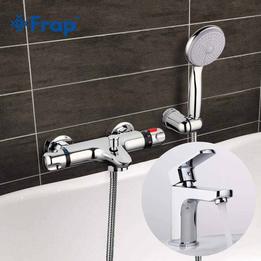 Frap Thermostatic bathtub Faucet Shower with Bathroom basin tap Cold and Hot Water Mixer Short Nose Double Handle F3051+F1064 frap colorful handle rubber cover shower faucet cold and hot water single handle with shower bar and basin faucet f1034 f2434