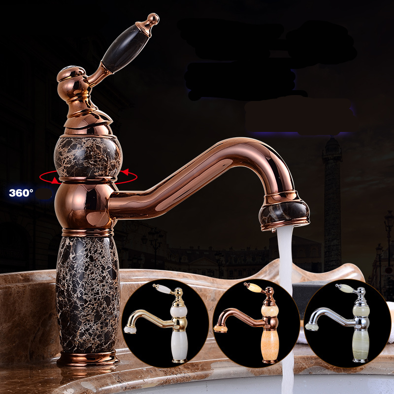 Europe Basin Faucet Bathroom Sink Faucet Single Handle Hole Faucets Basin Taps Jade Wash Antique Golden  Hot Cold Waterfall Tap